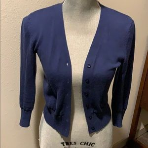 Navy cardi with black trim